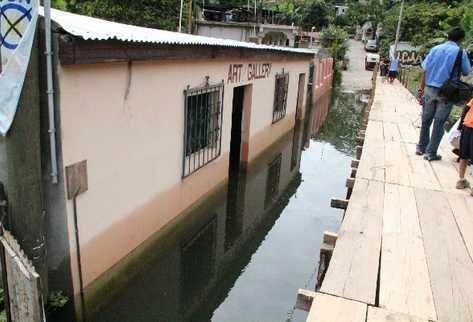 área afectada en Santiago Atitlán