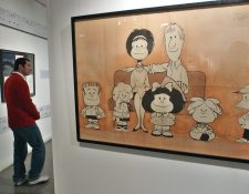 Un retrato de Mafalda y todos los personajes del comic de  Quino (Foto Prensa Libre: EFE/Leo La Valle)