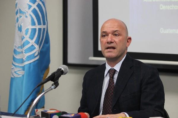 Alberto Brunori, representante de la Oficina del Alto Comisionado de la ONU para los Derechos Humanos en Guatemala. (Foto Prensa Libre)