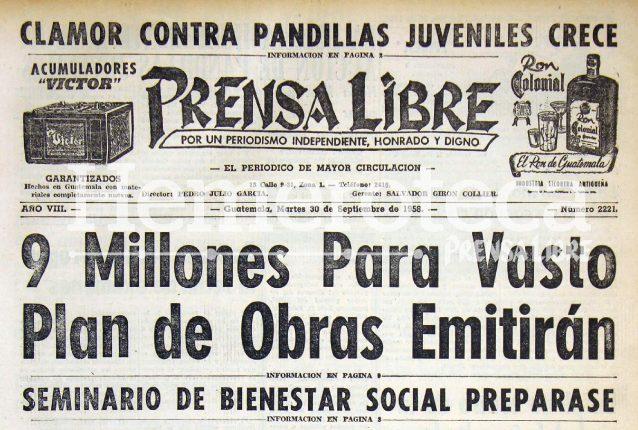 En 1958 la población clamaba por atención a las acciones de las pandillas. (Foto Prensa Libre: Hemeroteca)