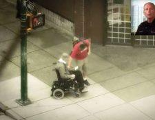 El policía encubierto recibe ayuda de un joven. (Foto Prensa Libre: Youtube)