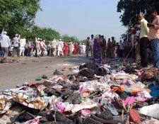 Zona de la India donde ocurrió una estampida humana. (Foto Prensa Libre: AFP)