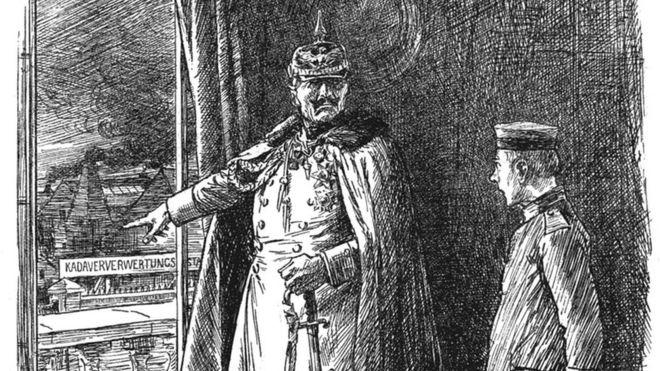 """La revista de humor y sátira inglesa Punch publicó una historia sobre la factoría: """"No te olvides de que tu Kaíser [Guillermo II] encontrará un uso para ti -vivo o muerto"""". PUNCH/NATIONAL ARCHIVE"""