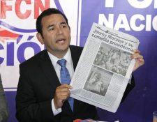Jimmy Morales enfrenta una crisis de Estado luego de que el MP y Cicig solicitaran el retiro de su derecho de antejuicio para investigarlo por financiamiento electoral ilícito. (Foto HemerotecaPL)