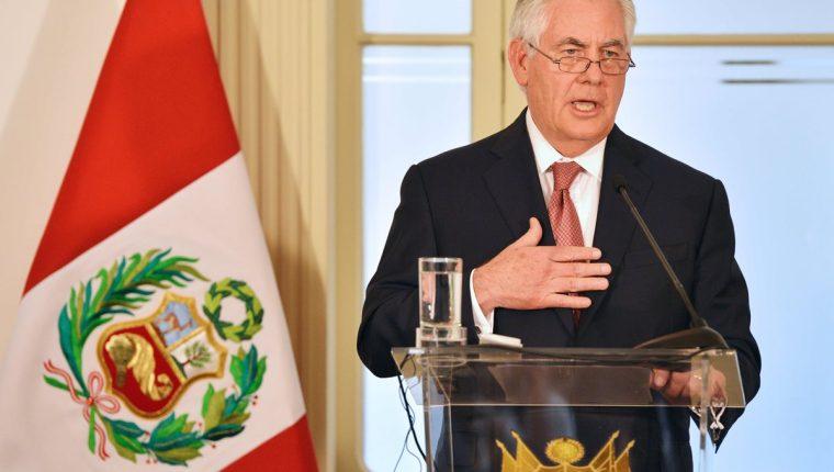 Rex Tillerson, secretario de estado de EE. UU., remarcó en Perú la necesidad de reforzar la lucha contra las drogas en Latinoamérica. (Foto Prensa Libre: AFP)
