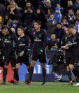 Los jugadores del Real Madrid celebran el gol de Casemiro en su encuentro contra el Leganés. (Foto Prensa Libre: EFE)