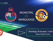 Municipal y Marquense lucharán por los tres puntos este domingo en el Manuel Felipe Carrera de El Trébol. (Foto Prensa Libre: TodoDeportes)