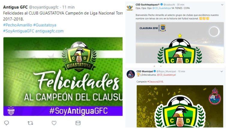 Los equipos de Liga Nacional y Primera División felicitaron al nuevo campeón. (Foto Prensa Libre: Twitter)