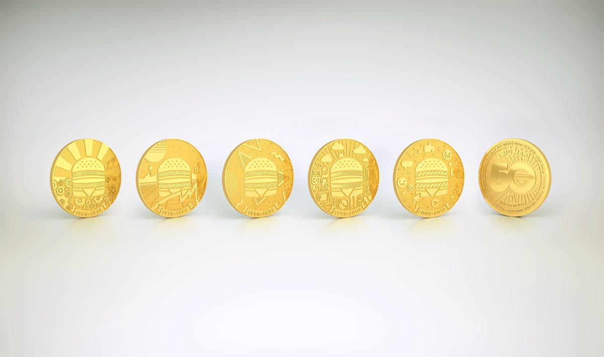 Cada una de las monedas equivale a un Big Mac por lo que podrán intercambiarla por un Big Mac gratis o coleccionarla. (Foto Prensa Libre: Cortesía)