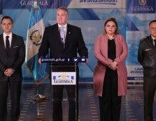 El Consejo Nacional de Seguridad ofreció conferencia este lunes, en referencia a las caravanas de migrantes hondureños y salvadoreños que ingresaron al país. (Foto Prensa Libre: Esbin García)