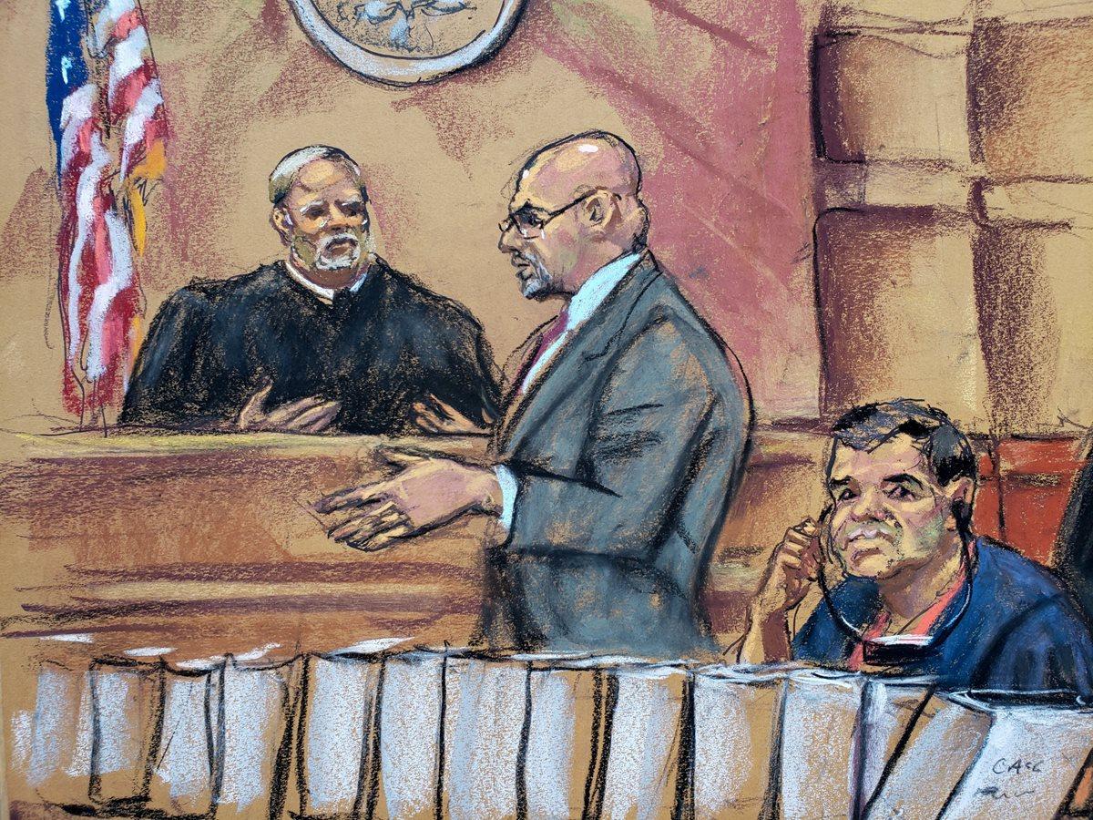 Dibujo artístico de Joaquín Guzmán (derecha) en la corte de Nueva York. (Foto Prensa Libre: AFP)