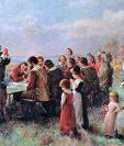 El primer día de Acción de Gracias en Plymouth (1914), de Jennie A. Brownscombe. La pintura muestra la convivencia entre colonizadores y los nativos americanos. (Foto Prensa Libre: Hemeroteca PL)