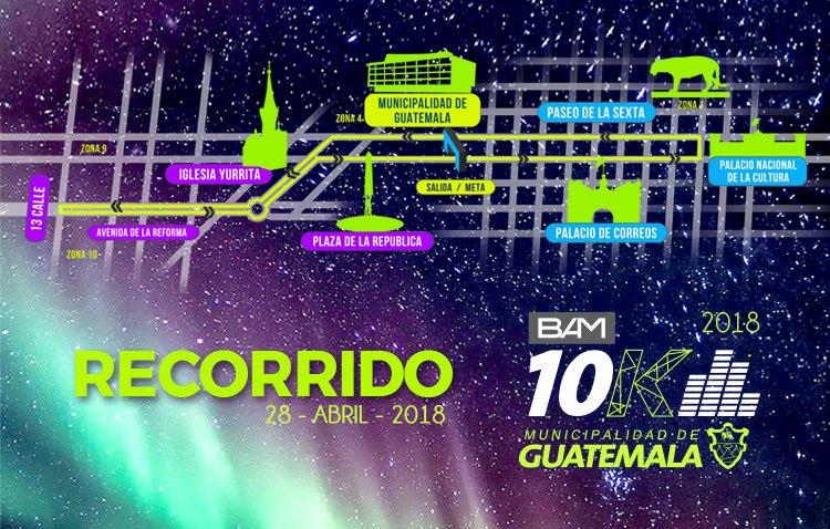 El tradicional recorrido de los 10K nocturnos, que arrancará y terminará a un costado de la Municipalidad de Guatemala. (Foto Prensa Libre: 10kguate.com)
