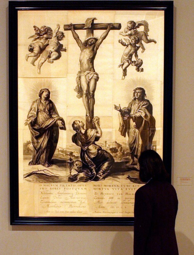 """La obra """"Cristo crucificado con la Virgen María, San Juan y Santa María Magdalena"""", de Anton Van Dyck. (EFE)."""