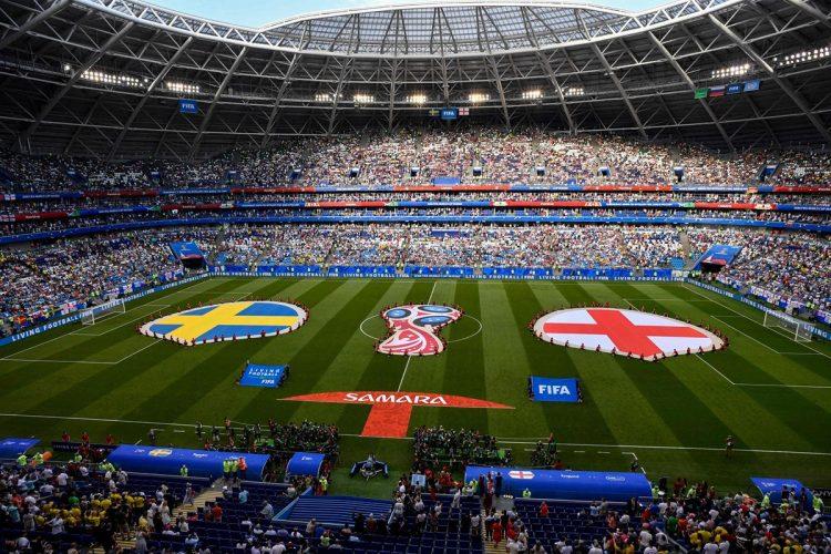 Así lució el estadio Samara Arena donde jugó Inglaterra contra Suecia. (Foto Prensa Libre: AFP).