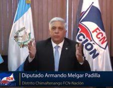 Diputado Armando Melgar Padilla, distrito Chimaltenango FCN-Nación. (Foto: Captura)