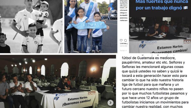 Futbolistas y exfutbolistas mostraron su apoyo a la decisión del Sifupgua de ir al paro para exigir que se respeten sus derechos. (Foto Prensa Libre: Redes)