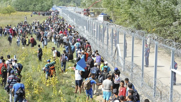 Migrantes esperan desesperados en frontera húngara. (Foto Prensa Libre: EFE)