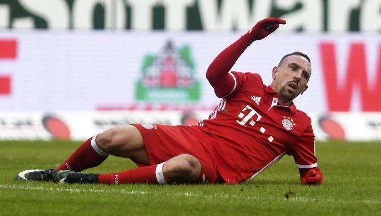 El francés Franck Ribery sufrió una lesión muscular en el muslo derecho durante el entrenamiento del Bayern y puede causar baja durante varias semanas. (Foto Prensa Libre: AFP)