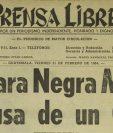 Portada de Prensa Libre 21/2/1964 informando sobre la muerte del luchador Máscara Negra. (Foto: Hemeroteca PL)