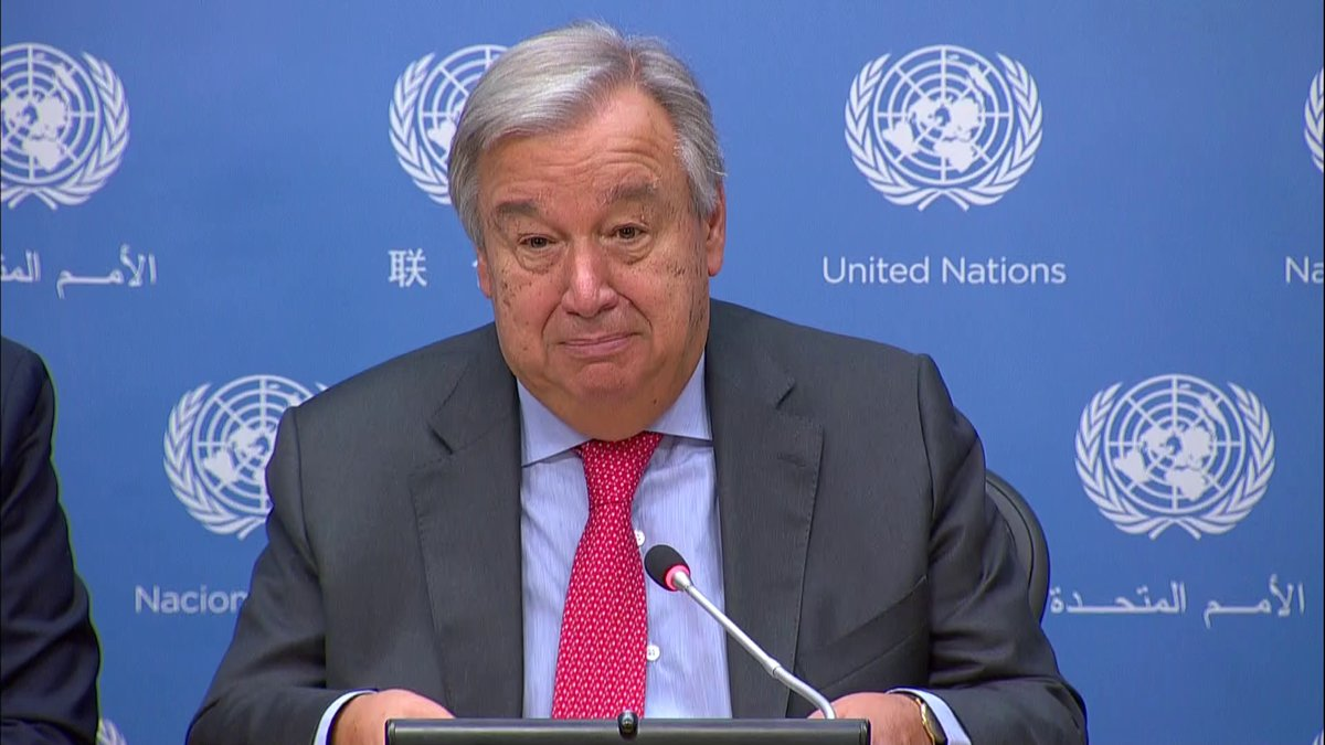 António Guterres, secretario general de la ONU, en conferencia de prensa. (Foto Prensa Libre: ONU)