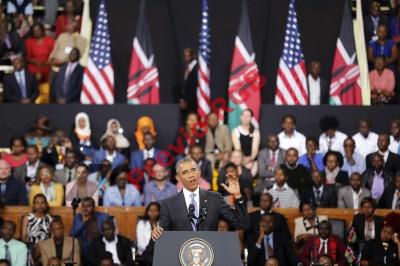 El presidente estadounidense Barack Obama pronuncia un discurso en Nairobi, Kenia. (Foto Prensa Libre:AFP)
