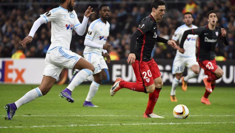 En la Europa League, el Marsella no tuvo un buen inicio en el torneo regional al perder en casa. (Foto Prensa Libre: AFP)