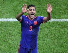Falcao marcó su primer gol en este Mundial de Rusia 2018; hace cuatro años no asistió al de Brasil por una grave lesión. (Foto Prensa Libre: AFP)