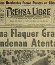 Portada de Prensa Libre del 7/9/1969 Lanzan una potente bomba contra el vehículo de la periodista Irma Flaquer en la avenida Simeon Cañas zona 2.(Foto: Hemeroteca PL)