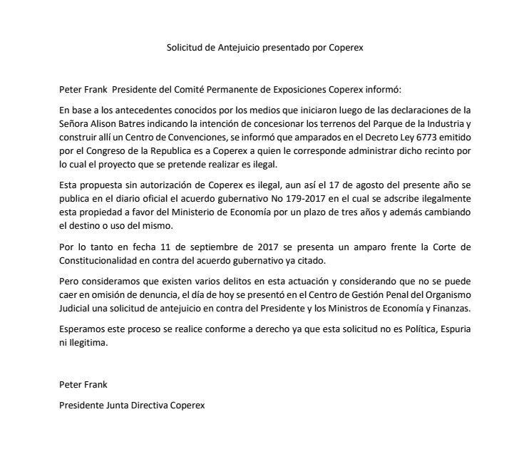 Comunicado de Coperex en el que expone la razón por la que solicitó antejuicio contra el presidente Jimmy Morales. (Foto Prensa Libre: Cortesía)
