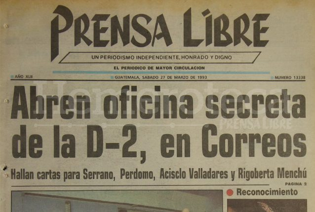 Titular de Prensa Libre del 27 de marzo de 1993. (Foto: Hemeroteca PL)