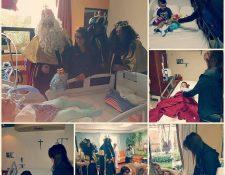 La gimnasta Sofía Gómez entregó regalos a varios niños en el hospital El Pilar. (Foto Prensa Libre: Cortesía Sofía Gómez)