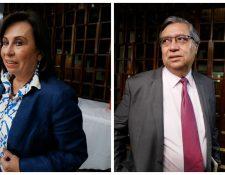 Sandra Torres y Jafet Cabrera al salir de la reunión con el Consejo Superior Universitario de la Usac. (Foto Prensa Libre: Paulo Raquec)