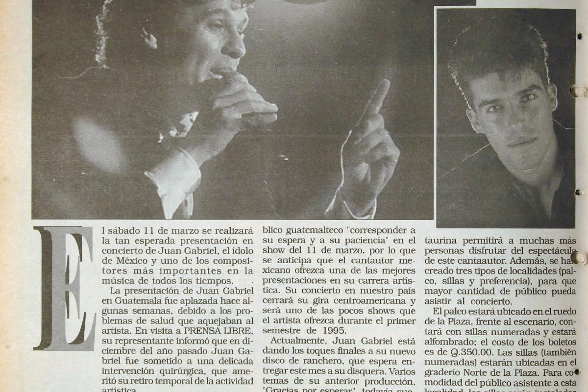 Juan Gabriel, por din se presentara en Guatemala luego de haber estado hospitalizado. Foto: Hemeroteca PL