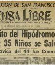 La Portada de Prensa Libre del 27/06/1955 informaba sobre el accidente del trencito del Hipódromo. Foto: Hemeroteca PL)