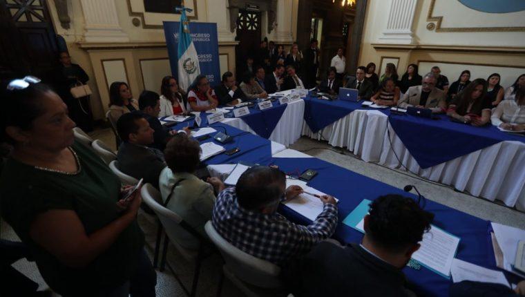 Asociaciones de la sociedad civil exponen argumentos ante la Comisión de la Mujer del Congreso. (Foto Prensa Libre: Óscar Rivas)