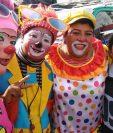 Artistas participan del segundo Congreso Nacional de Payasos, en la zona 1. (Foto Prensa Libre: Estuardo Paredes)