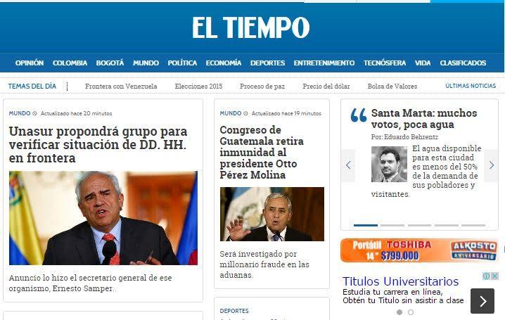 """""""EL TIEMPO"""" DE COLOMBIA."""