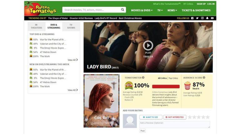 """""""Lady Bird"""" marcó un récord en el popular sitio web de películas. (Sitio web Rotten Tomatoes)."""