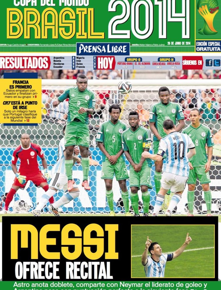 Argentina se impuso 3-2 a Nigeria en el mundial de Brasil 2014. (Foto Prensa Libre: Hemeroteca PL)