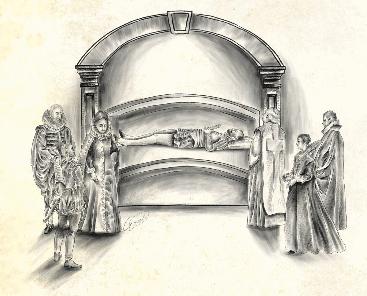 Los personajes ilustres de la ciudad eran enterrados en los sótanos de las iglesias en áreas llamadas pudrideros, donde el cuerpo pasaba por la descomposición a la vista del público. (Ilustración Prensa Libre, Esteban Arreola)