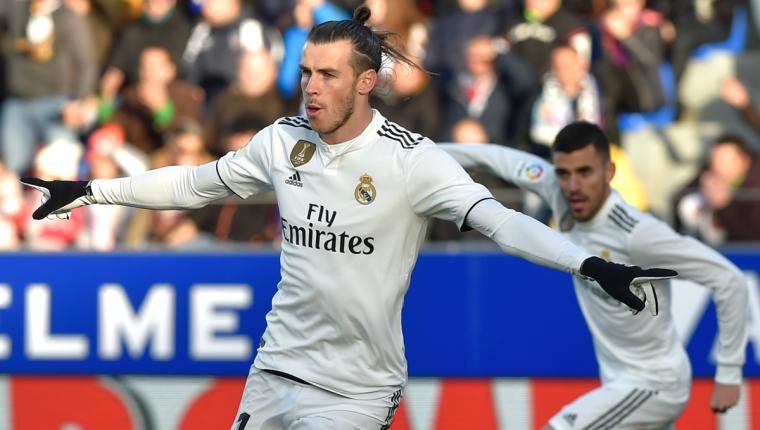 Gareth Bale anotó el solitario gol con el que el Real Madrid superó al Huesca. (Foto Prensa Libre: AFP)