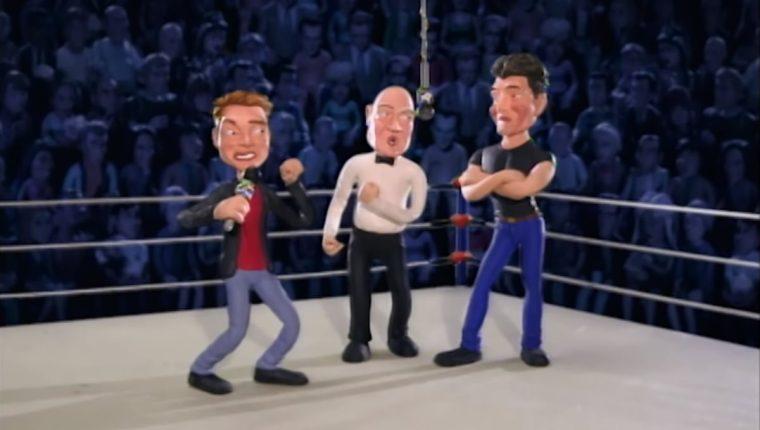 El argumento del programa Celebrity Deathmatch se basa en enfrentar a celebridades en el cuadrilátero. En la imagen se ven a los presentadores Simon Cowell y Ryan Seacrest antes de pelear. (Foto Prensa Libre: Youtube)