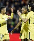 El nuevo tridente del PSG, Neymar, Mbappé y Cavani, marcaron en el triunfo contra el Metz. (Foto Prensa Libre: AFP)