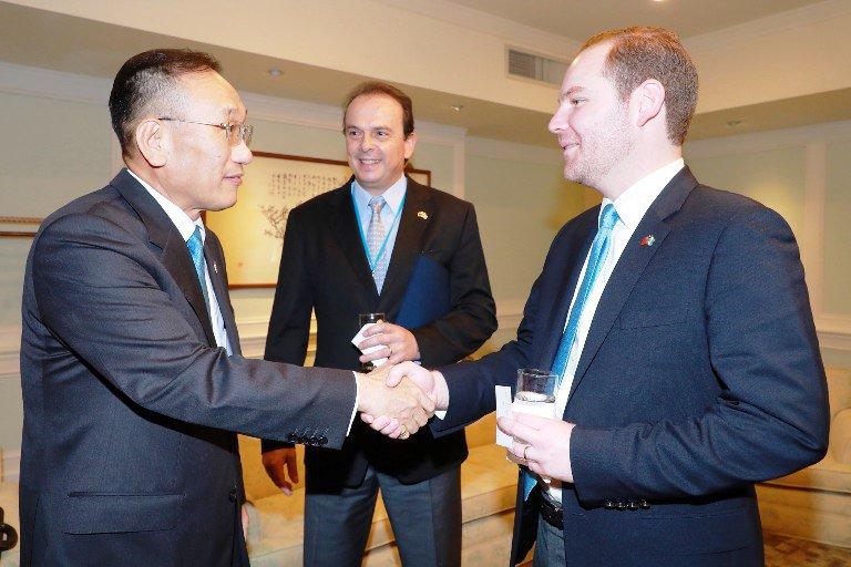 El presidente del Congreso Álvaro Arzú Escobar y el diputado Juan José Porras viajaron a Taiwán. (Foto Prensa Libre: Ministry of Foreign Affairs Republic of China Taiwan)