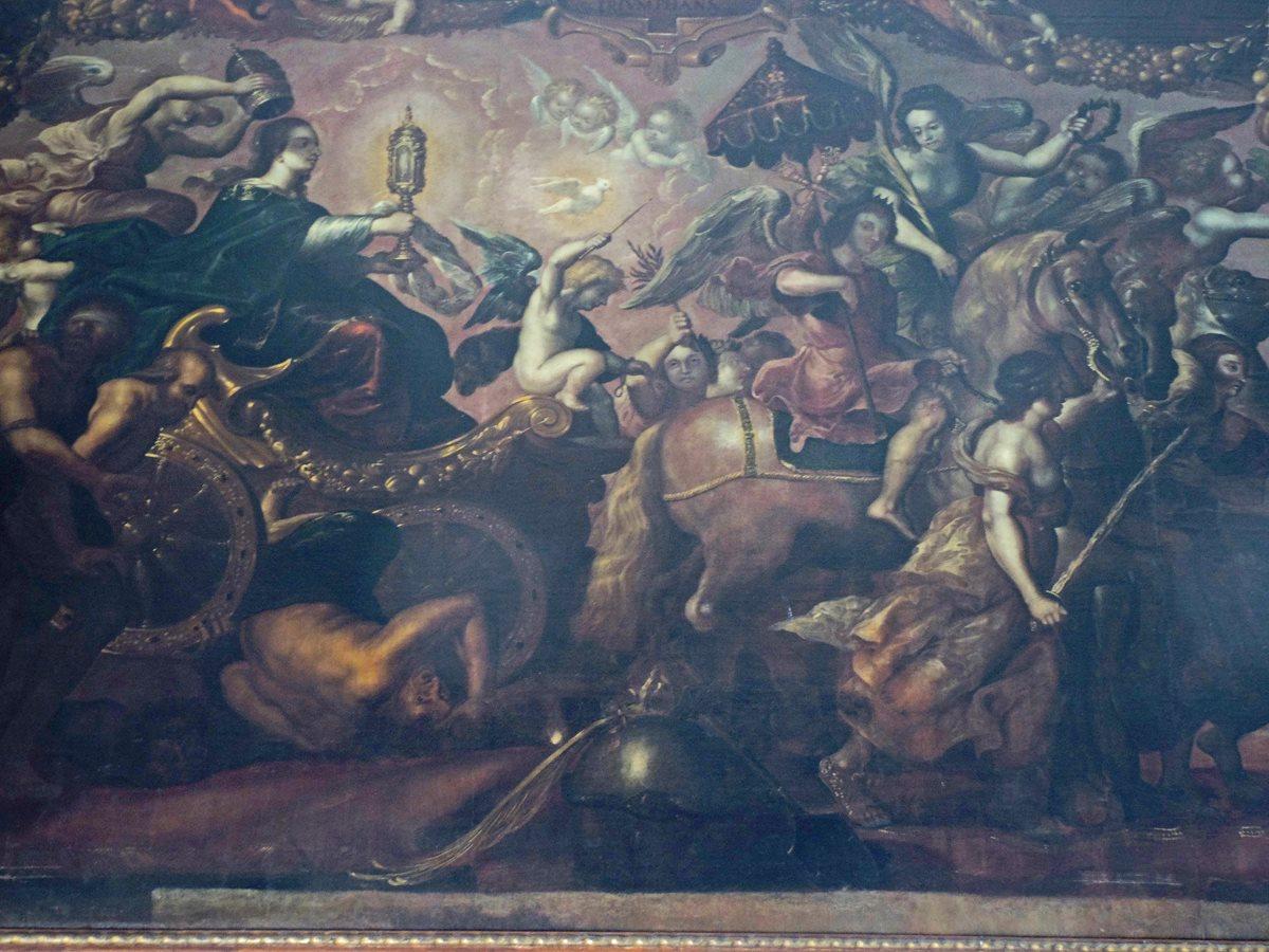 """Detalle de la monumental pintura """"Triunfo de la Eucaristía""""  que se encuentra en la Catedral Metropolitana, obra de Pedro Ramírez. (Foto: Néstor Galicia)"""