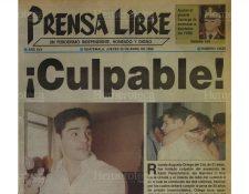 Portada del 25/04/1996 se dio a conocer la sentencia en contra de Ortega Del Cid por la muerte de Karin Fleischmann. (Foto: Hemeroteca PL)