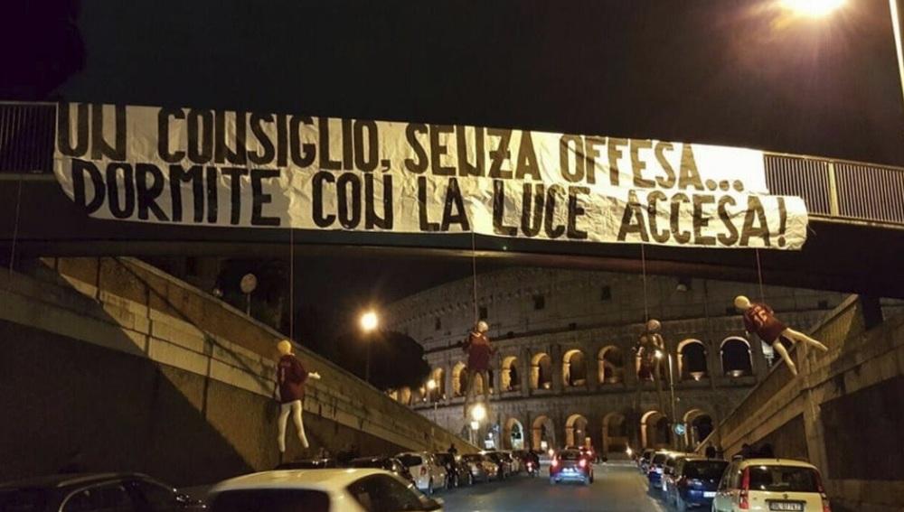 Un grupo ultra de la Lazio reivindica macabra escena contra la Roma