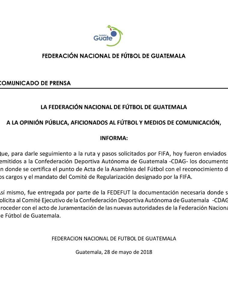 El comunicado de la Fedefut. (Foto Prensa Libre: Fedefut)