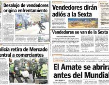 Desde 2010 la comuna retiró las ventas ambulantes de la 6a. avenida y trasladó a los comerciantes a la Plaza El Amate. (Foto Prensa Libre: Hemeroteca PL)